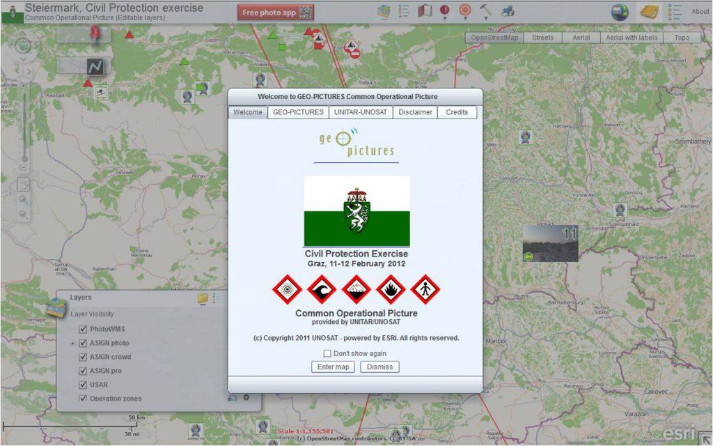 Startbildschirm von GEO-PICTURES in der Anwendung für die Abschlussübung