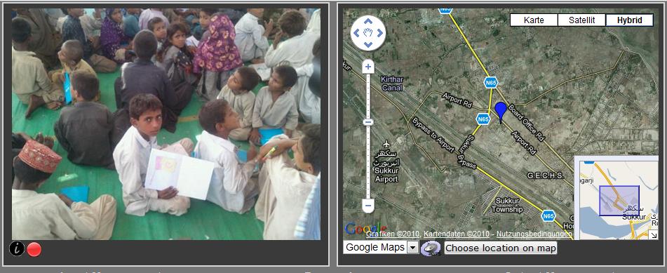 Test der im Rahmen des GEO-PICTURES entwickelten Software bei der Flutkatastrophe in Pakistan.