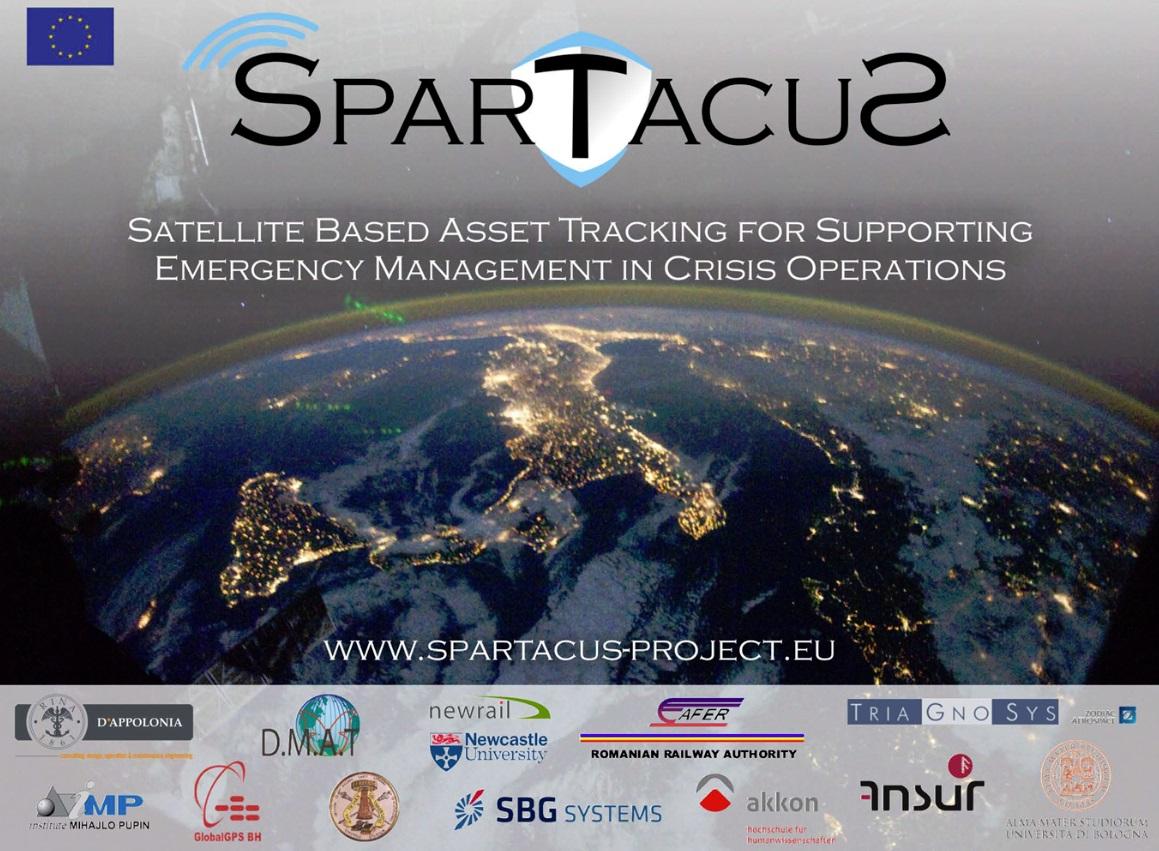 Flyer für das Projekt SPARTACUS - Satelliten basierte Nachverfolgung von Hilfsgütern zur Unterstützung von Krisen- und Katastropheneinsätzen.
