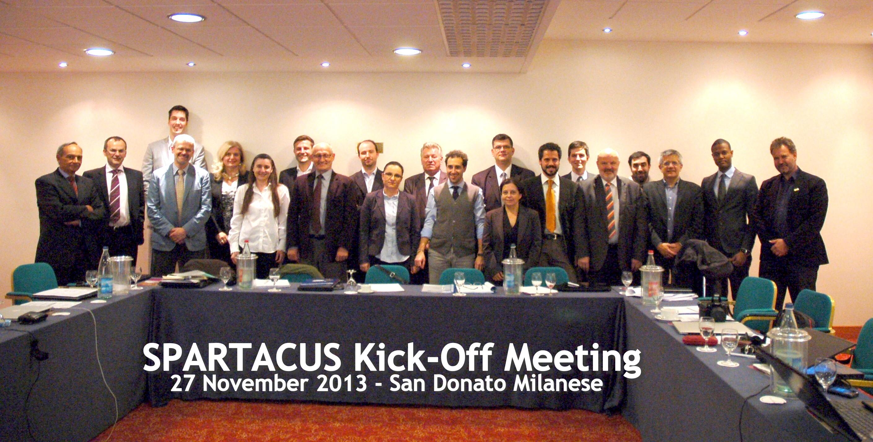 Gruppenbild der Partner im Spartacus Projekt nach einem erfolgreichen Kick-off-Treffen in Mailand.
